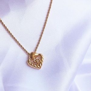 Vintage Christian Dior Heart Necklace in Gold tone